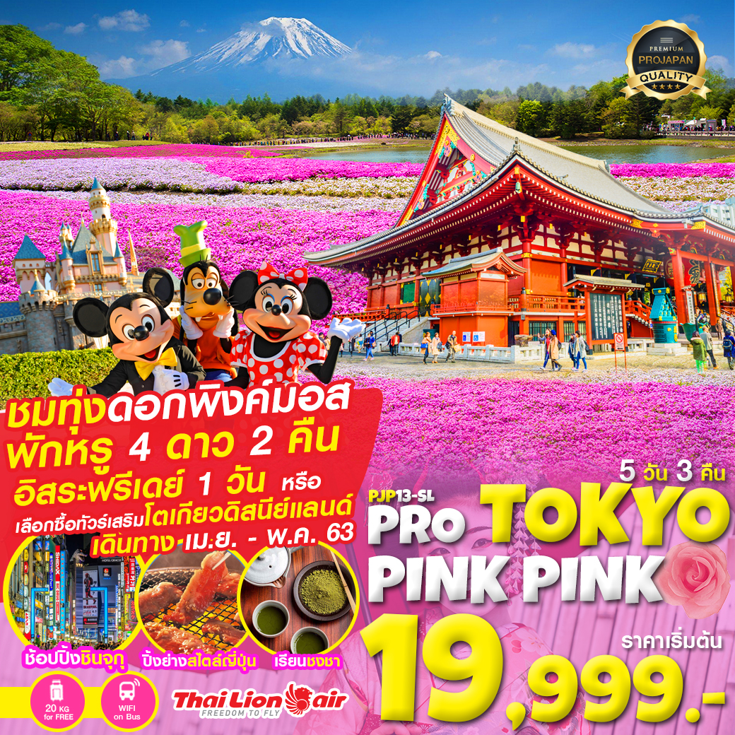 PRO TOKYO ชมพู PINK PINK FREE DAY  5D3N